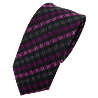 Schmale TigerTie Krawatte magenta anthrazit schwarz kariert - Schlips Tie