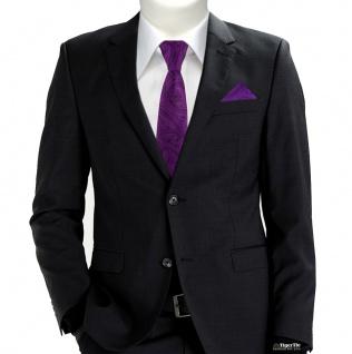 schmale TigerTie Krawatte + Einstecktuch in lila schwarz Paisley gemustert - Vorschau 2