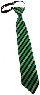 TigerTie Kinderkrawatte grün hellgrün schwarz gestreift - vorgebunden Gummizug