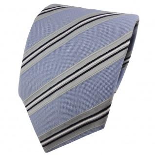 TigerTie Krawatte blau hellblau grau silber schwarz gestreift - Binder Schlips