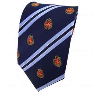 TigerTie Seidenkrawatte blau dunkelblau rot gold gestreift Wappen - Krawatte