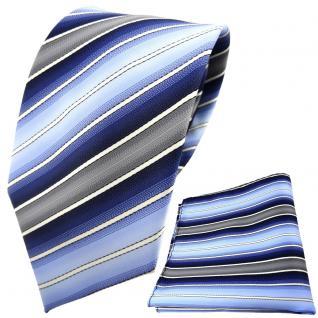 TigerTie Designer Krawatte + Einstecktuch blau dunkelblau creme grau gestreift