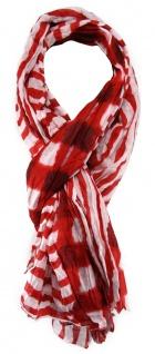 TigerTie Schal in rot weiß gestreift - Gr. 180 x 100 cm - 100% Baumwolle