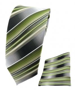 schmale TigerTie Seidenkrawatte + Einstecktuch grün grau silber gestreift