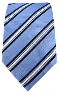 TigerTie Seidenkrawatte in blau hellblau weiss gestreift - Krawatte 100% Seide - Vorschau 2