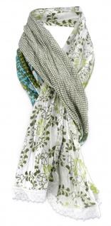 Damen Halstuch grün oliv Blumenmuster Gr. 180 cm x 50 cm - Tuch Schal Baumwolle