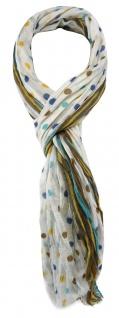TigerTie Schal in beige gelb blau türkis braun weiss gepunktet - Gr. 180 x 50 cm