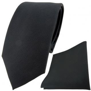 TigerTie Krawatte + Einstecktuch in anthrazit dunkelgrau fein gepunktet