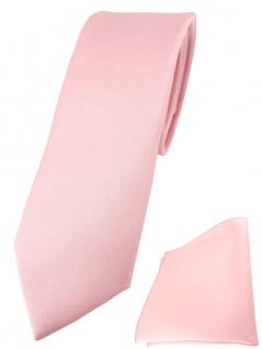 schmale TigerTie Designer Krawatte + Einstecktuch in rosa einfarbig uni
