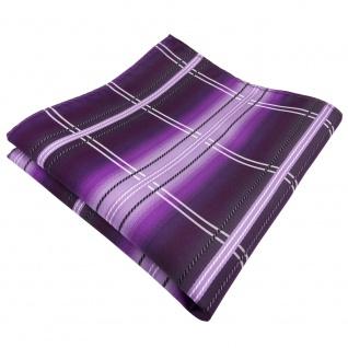 Einstecktuch in lila flieder schwarz silberweiß kariert - Tuch 100% Polyester