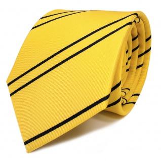Schicke TigerTie Krawatte gelb goldgelb dunkelblau gestreift - Schlips Binder