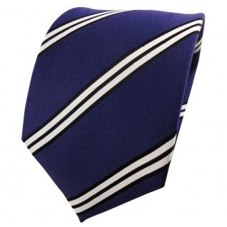 Satin Seidenkrawatte blau dunkelblau schwarz silber gestreift - Krawatte Seide