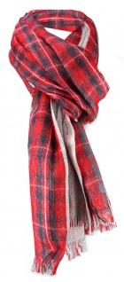 Schal rot schwarz silber kariert Schottenmuster -Gr.180 x 70 cm - Modal/Wolle