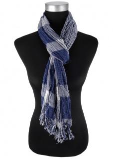 Schal in blau grau kariert mit Fransen - 180 cm x 50 cm - Tuch Baumwolle
