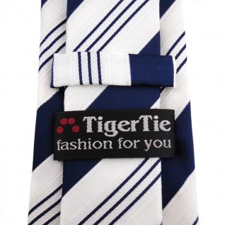 TigerTie Satin Krawatte blau dunkelblau weiß silber gestreift - Binder Schlips - Vorschau 3