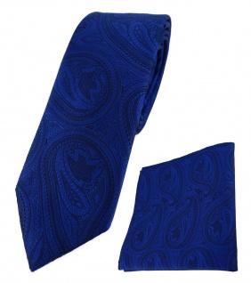 schmale TigerTie Krawatte + Einstecktuch in royal blau schwarz Paisley gemustert