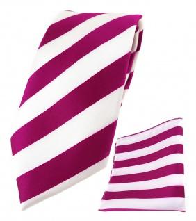 TigerTie Designer Krawatte + TigerTie Einstecktuch in magenta weiss gestreift