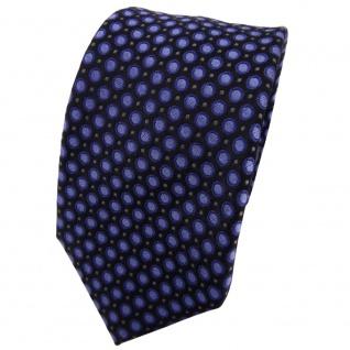 Enrico Sarto Seidenkrawatte blau anthrazit schwarz gepunktet - Krawatte Seide