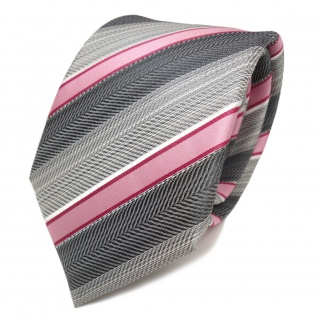 TigerTie Designer Seidenkrawatte rosa rot grau silber anthrazit gestreift