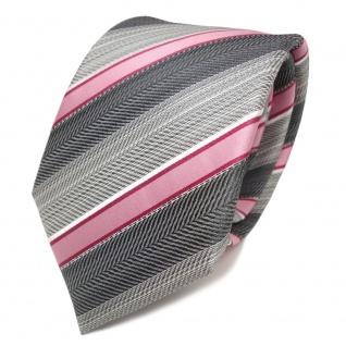 TigerTie Seidenkrawatte rosa rot grau silber anthrazit gestreift- Krawatte Seide - Vorschau 2