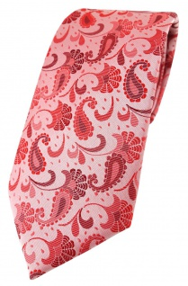 TigerTie Designer Krawatte in rose weinrot silberrosa Paisley gemustert