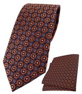 TigerTie Krawatte + Einstecktuch in orange blau silber schwarz gemustert