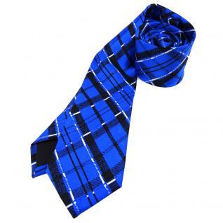 Schmale leichte Kinderkrawatte blau schwarz weiss kariert - Größe 5, 5 x 125 cm