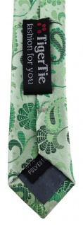schmale TigerTie Designer Krawatte in grün grasgrün anthrazit Paisley gemustert - Vorschau 5