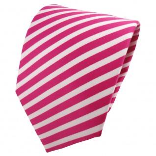 schöne TigerTie Designer Krawatte magenta weiß gestreift - Binder Tie Cravate