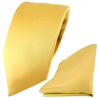 Modische TigerTie Satin Seidenkrawatte + Seideneinstecktuch in gold einfarbig