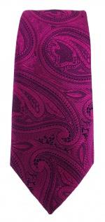 TigerTie - schmale Krawatte in magenta beere lila schwarz Paisley gemustert - Vorschau 2