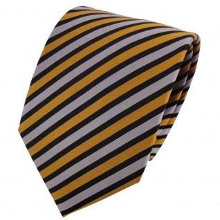 TigerTie Seidenkrawatte gold silber schwarz gestreift - Krawatte Seide Binder