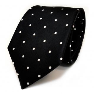 TigerTie Designer Seidenkrawatte schwarz weiss gepunktet - Krawatte 100% Seide