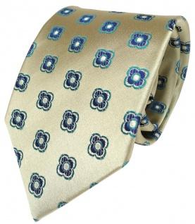 feine Designer Krawatte in gold mit blau türkisem Blumenmuster 100% Seide
