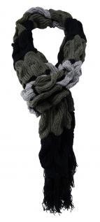 Strickschal in grau anthrazit schwarz gemustert mit Fransen - Schal 27x220 cm