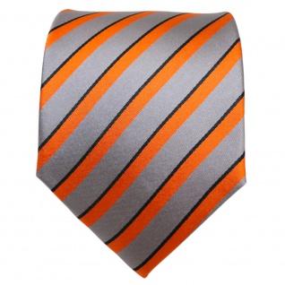 TigerTie Designer Seidenkrawatte orange grau schwarz gestreift - Krawatte Seide - Vorschau 2