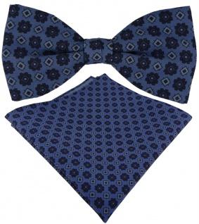 TigerTie Seidenfliege + Seideneinstecktuch blau marine Ornament gemustert + Box