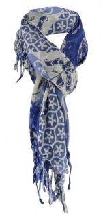 Halstuch in royal marine blau grau gemustert mit Fransen - Gr. 90 x 90 cm