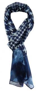 TigerTie Unisex Chiffon Schal in blau marine grau schwarz gemustert
