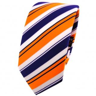 Schmale TigerTie Krawatte orange lila schwarz weiß gestreift - Schlips Binder