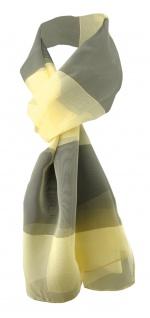 Damen Chiffon Halstuch gelb hellgelb oliv gestreift 165 cm x 40 cm - Tuch Schal