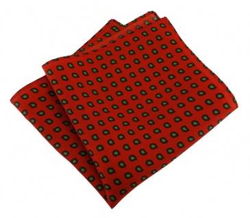 TigerTie Designer Seideneinstecktuch in rot grün schwarz Paisley gemustert
