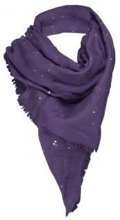 TigerTie Halstuch in lila einfarbig mit kleinen Fransen + silbernen Pailetten