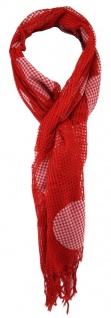 TigerTie Netzschal in rot weiß mit Punkten und Fransen - Gr. 180 x 40 cm