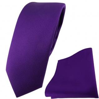 schmale TigerTie Krawatte + Einstecktuch in lila violett einfarbig Uni Rips