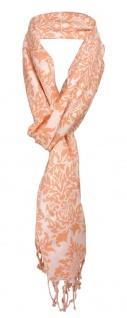 Schal in lachs Ornamente gemustert mit Fransen - Gr. 175 x 50 cm - 100% Viscose