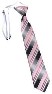 TigerTie Security Sicherheits Krawatte in rosa hellrosa silber grau gestreift