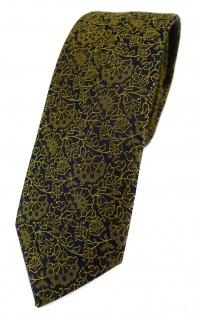 TigerTie - schmale Designer Krawatte in gelbgold schwarz florales Muster