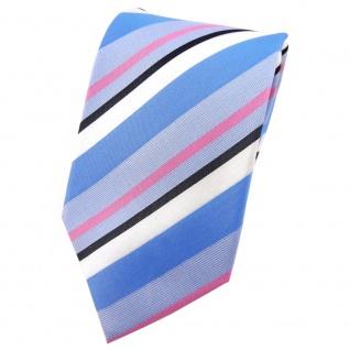 TigerTie Seidenkrawatte blau hellblau pink anthrazit weiß gestreift - Krawatte