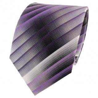 TigerTie Seidenkrawatte lila flieder grau silber anthrazit gestreift - Krawatte